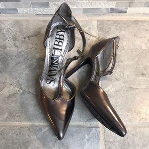 Sam & Libby Metallic Grey Heels Women Size 6